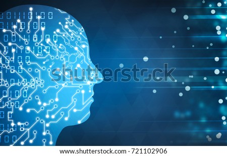 artificial intelligence software concept on blue background