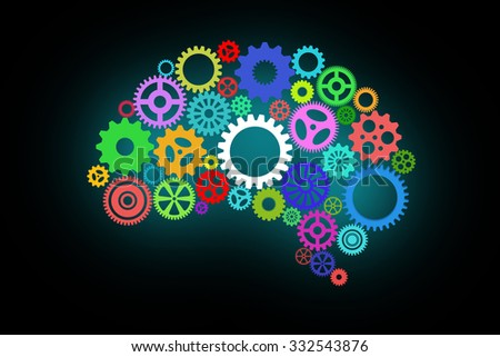 Artificial intelligence with human brain shape and gears on dark or black background - stock photo