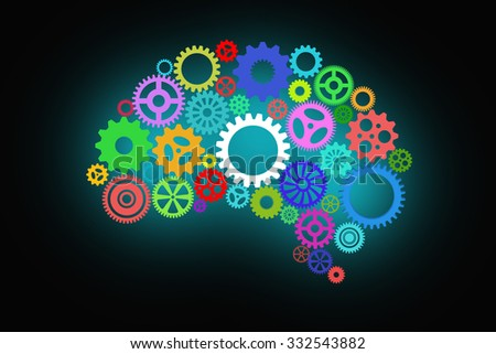 Artificial intelligence with human brain shape and gears on dark or black background