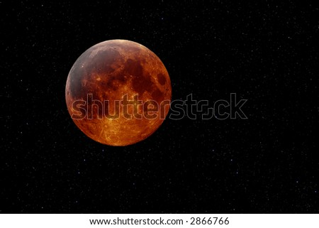 Artificial mockup of a lunar eclipse against a starry background - stock photo