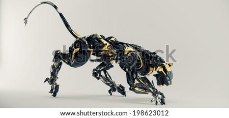Artificial model of panther / Futuristic robotic predator panther 3d render - stock photo