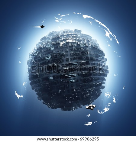 artificial planet - stock photo