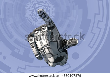 Artificial Robotic Hand working on abstract circle holographic interface. Future technology as design concept. Finger touching virtual screen - stock photo