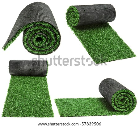 artificial rolled green grass for cover sports field isolated on white background - stock photo