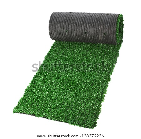 artificial rolled green grass for tennis, isolated on white background - stock photo