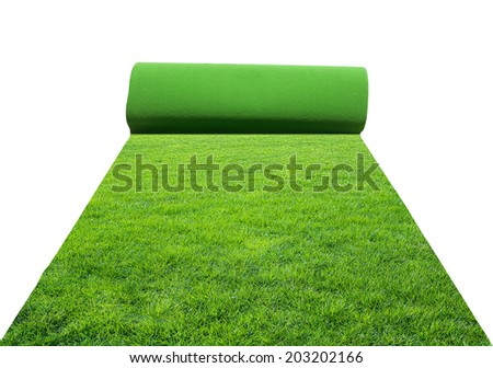 artificial rolled green grass, isolated on white  - stock photo