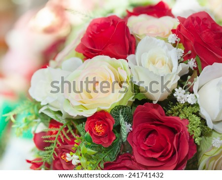 artificial rose flower bouquet close up