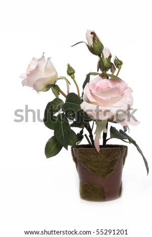 artificial rose white - stock photo