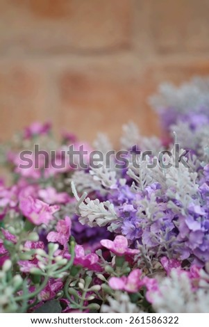 Artificial salvia purple flowers at beauty