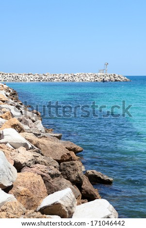 Artificial sea embankment in Monastir, Tunisia, Africa