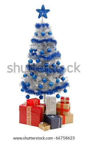 Artificial silver christmas tree isolated on white, decorated with blue ornaments and silver garland, a lot of presents under the tree