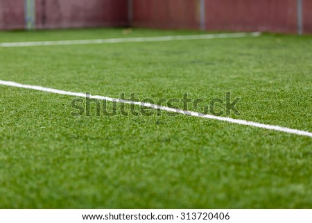 Artificial soccer turf - stock photo