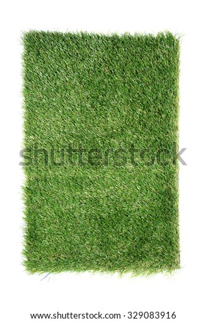 Artificial turf tile on a white background. Artificial turf tile background. - stock photo