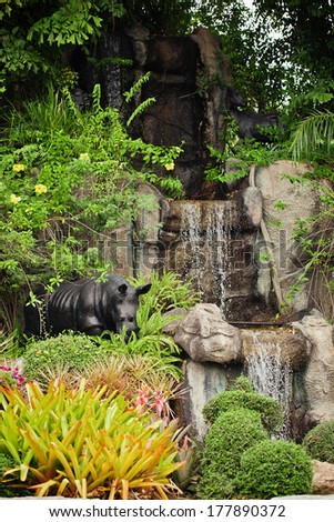 Artificial waterfall in Thailand. Khao Keo zoo - stock photo