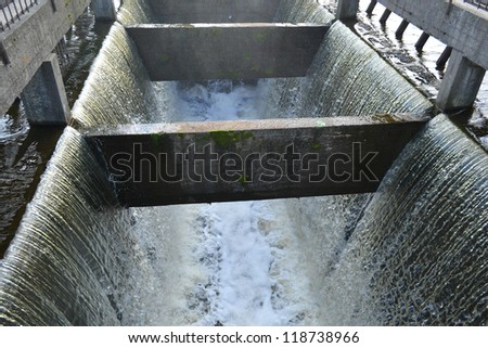 Artificial waterfall in the village of Petro-Slav near St.Petersburg, Russia - stock photo