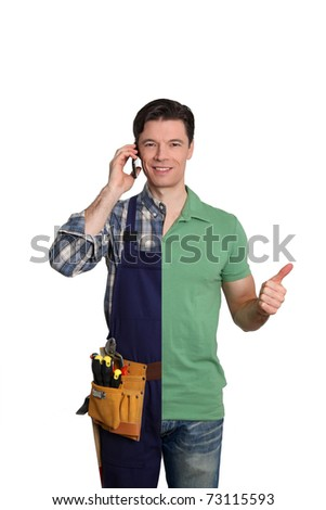 Artisan talking on the phone to customer for assistance - stock photo