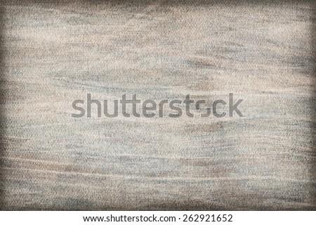 Artist Bluish Gray Primed Linen Duck Canvas, coarse grain, bleached, mottled, stained, vignette grunge texture. - stock photo
