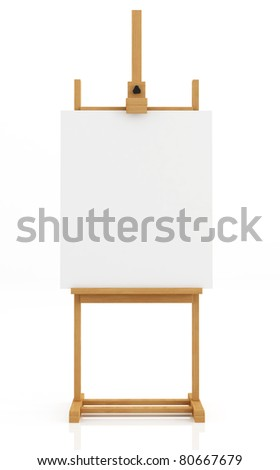 artist easel  isolated on white with blank canvas - rendering