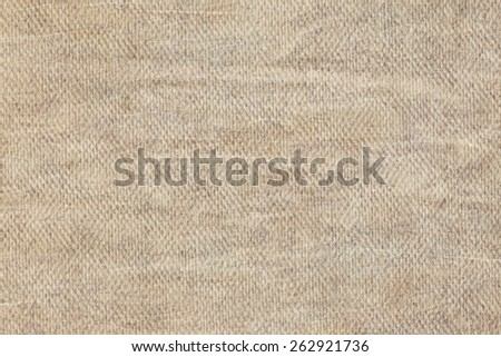 Artist Grayish Beige Primed Linen Duck Canvas, coarse grain, bleached, mottled, stained grunge texture. - stock photo