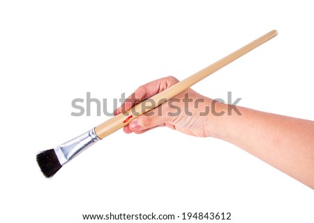 Artist Hand Holding Paintbrush Brush Ready to Paint in Art Work Concept and Idea isolated on white background.
