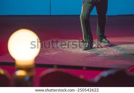 Artist on circus arena. Bulgaria - stock photo