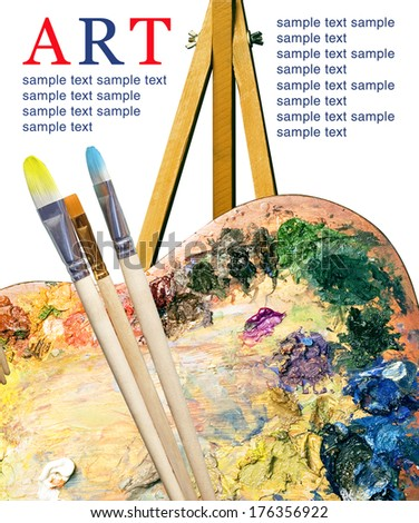 Artist palette with various colors and brush (poster) - stock photo