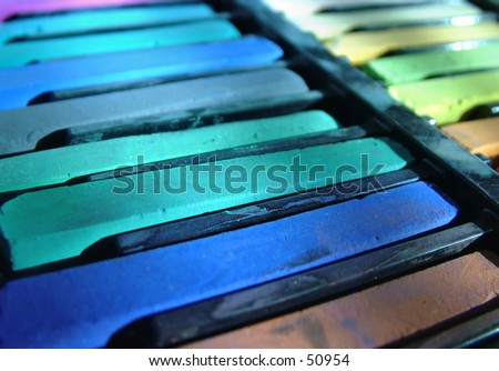 Artist pastels in cool colors. - stock photo