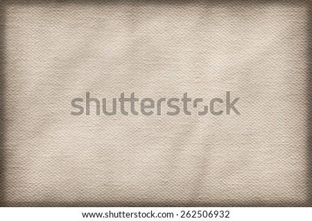 Artist Primed Cotton Duck Canvas coarse grain, crumpled, vignette grunge texture. - stock photo