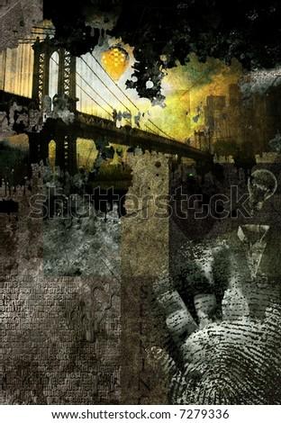 Artist rendering abstract with bridge - stock photo