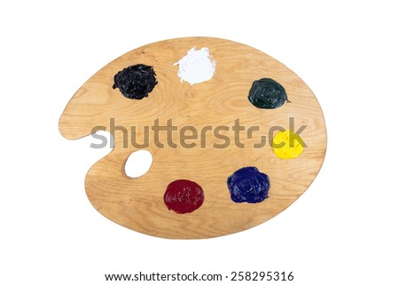 Artist's clean palette with oil paints isolated on white background. - stock photo