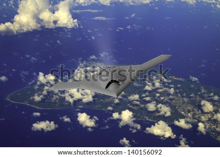 Artist's impression  an unmarked drone as it flies over the Pacific island of Guam - stock photo