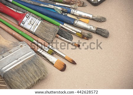 Artist's Old Brushes close-up - stock photo