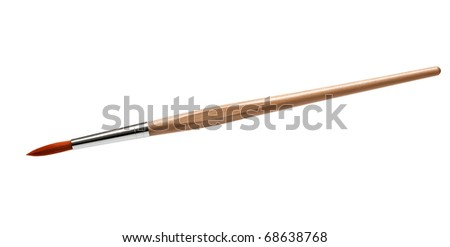 Artist's paintbrush isolated on white - stock photo