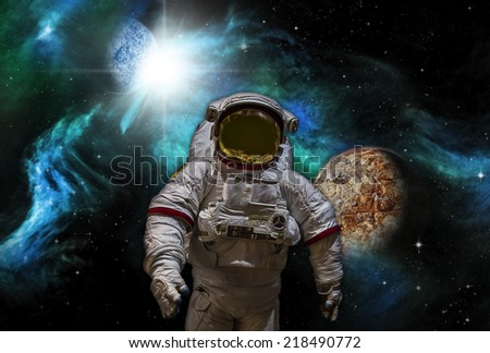 Artist's Rendition of Sci-fi image of Astronaut and Alien Planet. - stock photo