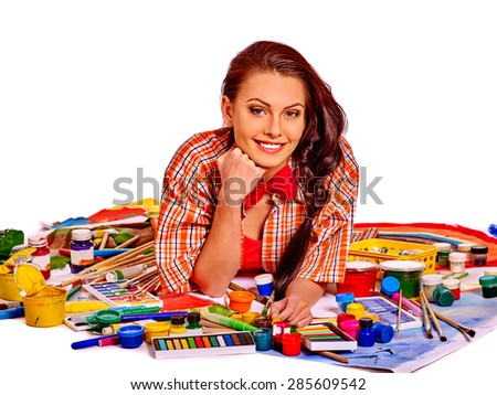 Artist woman at work with paintbrush on Isolated. - stock photo