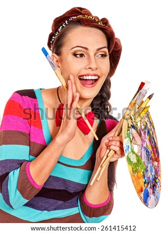 Artist woman with palette at work. Isolated. - stock photo