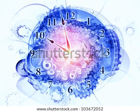 Artistic abstraction on the subject of scheduling, temporal and time related processes, deadlines, progress, past, present and future composed of gears, clock elements, dials and dynamic swirly lines