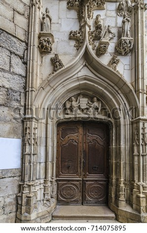 Artistic and sculptural details on the entrance doors to the chapel of the sanctuary of Rocamadour & Artistic Sculptural Details On Entrance Doors Stock Photo (Edit Now ...