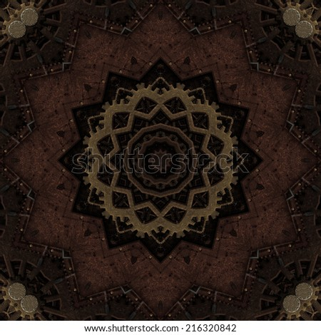 Artistic and stylized old metal kaleidoscope illustration in Steampunk style - stock photo