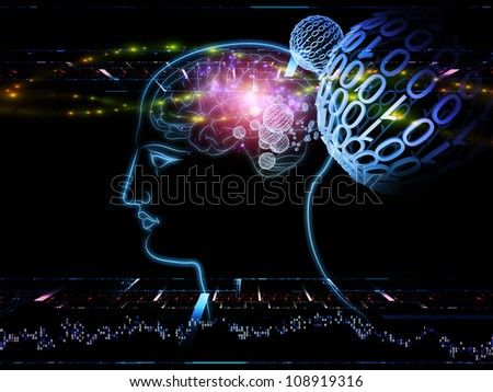 Artistic background for use with projects on intelligence,  consciousness, logical thinking, mental processes and brain power, made of head outlines, lights and abstract design elements - stock photo
