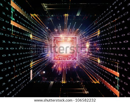 Artistic background made of CPU graphic and abstract design elements for use with projects on digital equipment, computing and modern technologies