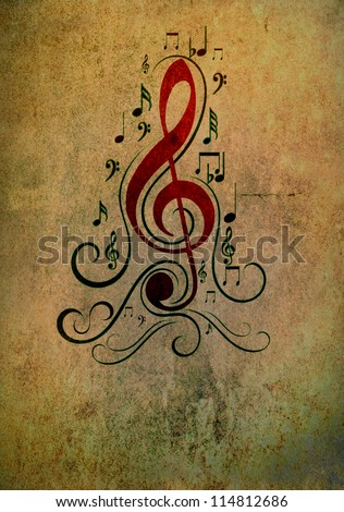 Artistic background - music notes in grunge style - stock photo