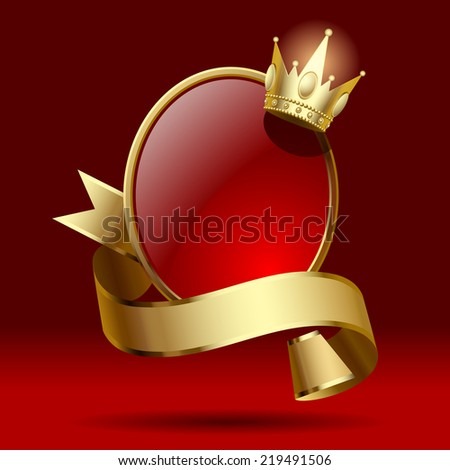 Artistic badge in the form of a shields with gold ribbon and crown against a dark red background. Retro design element. Contain the detailed Clipping Path (contain the detailed Clipping Path) - stock photo