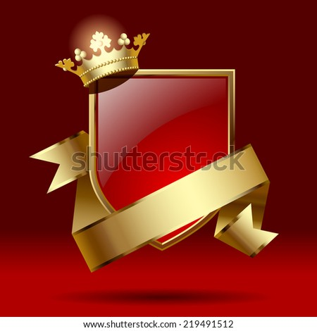 Artistic badge in the form of a shields with gold ribbon and crown against a dark red background. Retro design element. Contain the detailed Clipping Path - stock photo