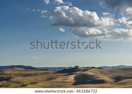 Artistic beauty in the view of wavy fields and blue cloudy sky.