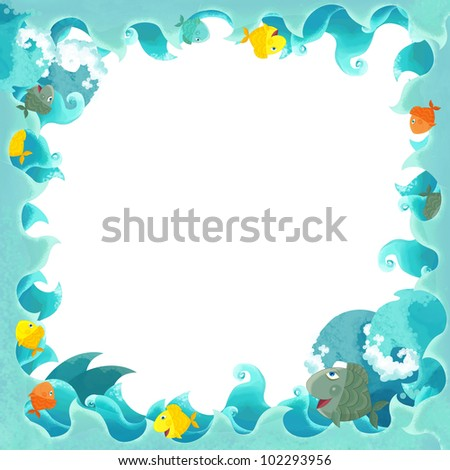 artistic cartoon frame waves with fishes