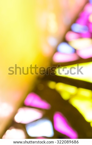 Artistic color blur background of stained glass window reflections, with copy space for text - stock photo
