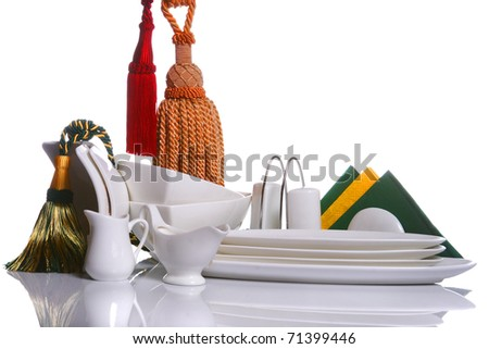 artistic composition with white kitchen accessories - stock photo