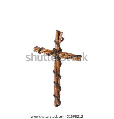 Artistic Cross woven from wood and wire