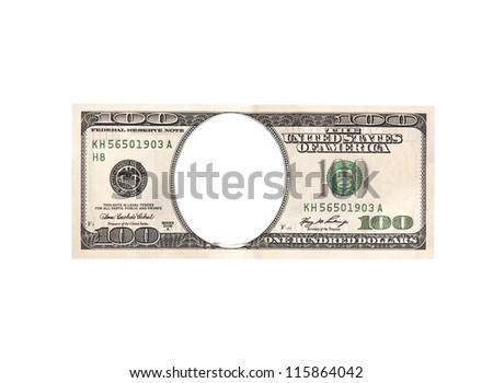 Artistic dollar bill isolated on a white background